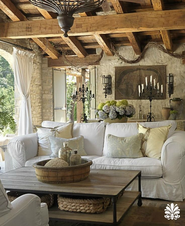 Such A Gorgeous Veranda Rustic Warm And Elegant French Country Decorating Living Room French Country Living Room Farmhouse Decor Living Room
