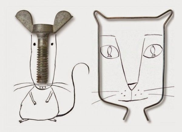 Found Objects Turned Into Illustrations by Roger Chouinard