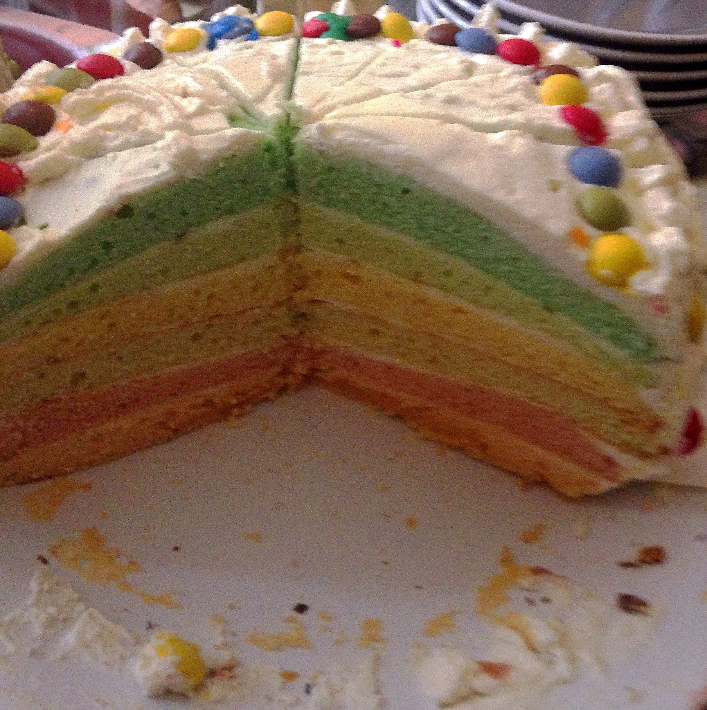 gateau arc-en-ciel pour un anniversaire haut en couleur!