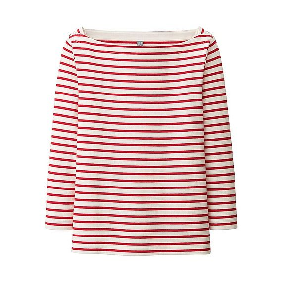 Uniqlo Striped Boat Neck in Red & Navy - £12.99