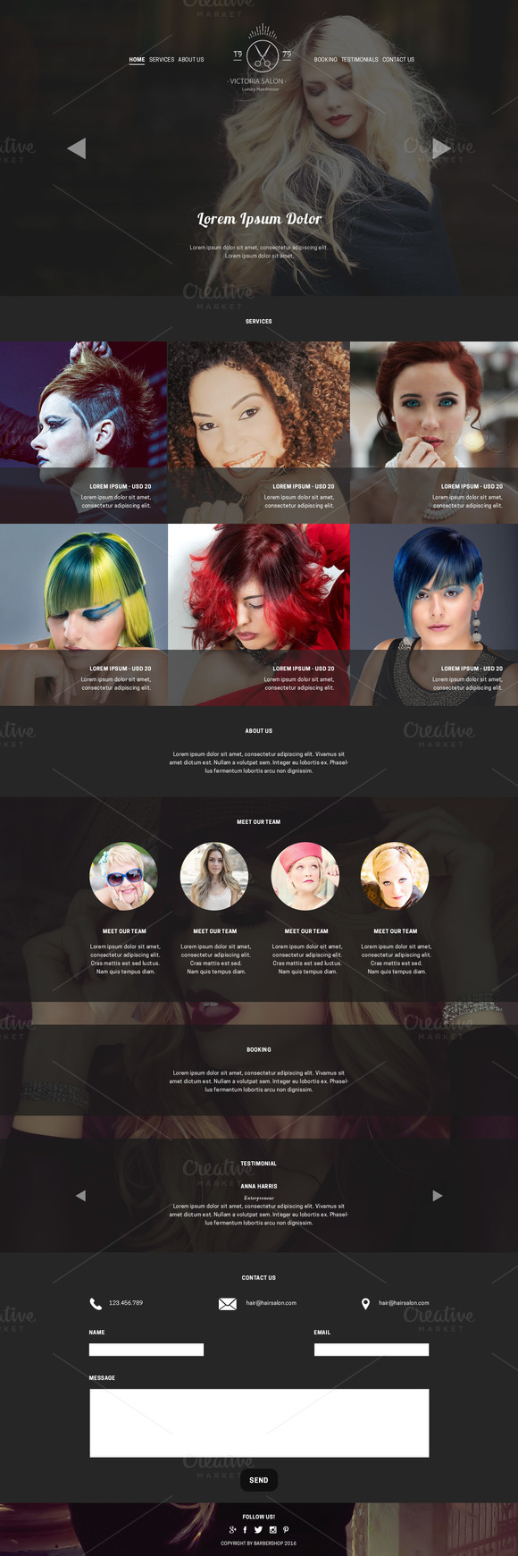 Hair Salon PSD Website Template | Salons, Template and Website