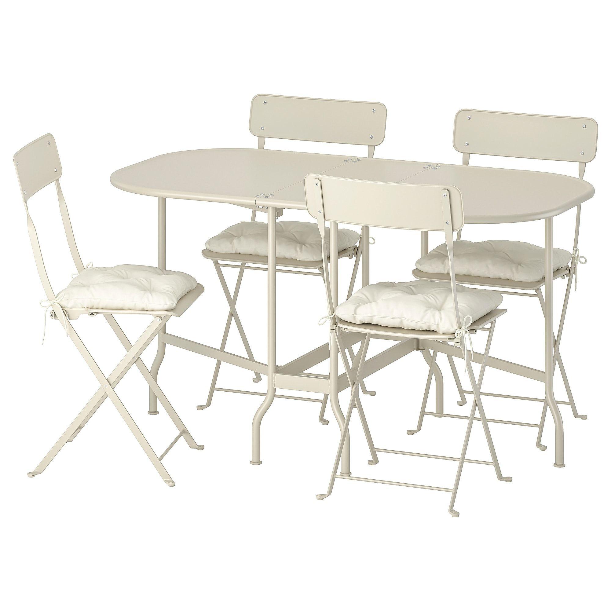 Saltholmen Tisch 4 Klappstuhle Aussen Beige Kuddarna Beige