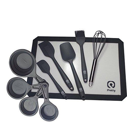 Dishwasher Safe Pretty For Lifestyle 8 Pcs Silicone Kitchen Utensils Set Baking Grey Black Bonus