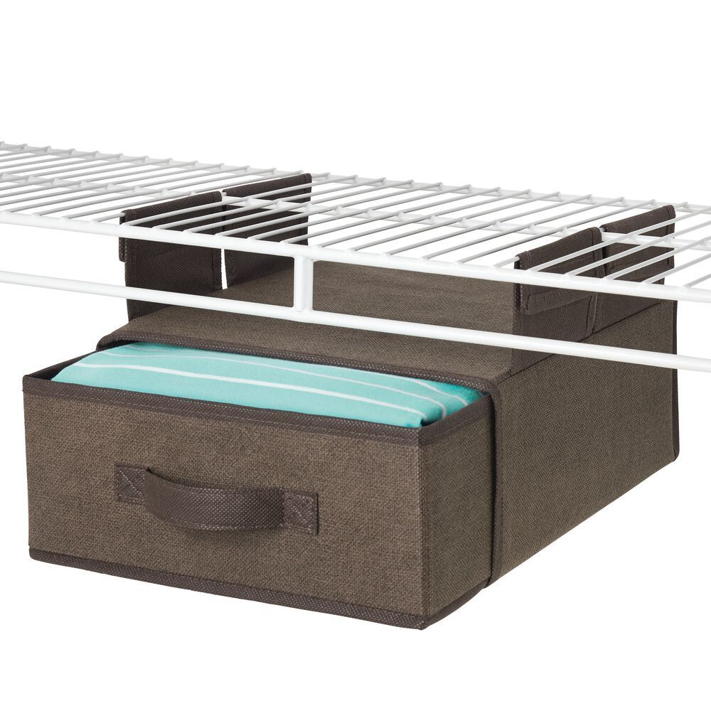 mDesign Soft Fabric Over Closet Shelving Hanging Storage Organizer with Removable Drawer for Closets in Bedrooms, Hallway, Entryway, Mudroom INSTANT ORGANIZATION: It is easy to add convenient custom storage to any closet with this hanging accessory organi