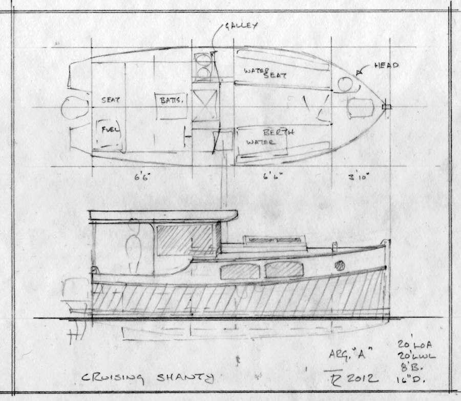 Cruising Shanty 20, 20' Trailerable Outboard Shanty Boat ...
