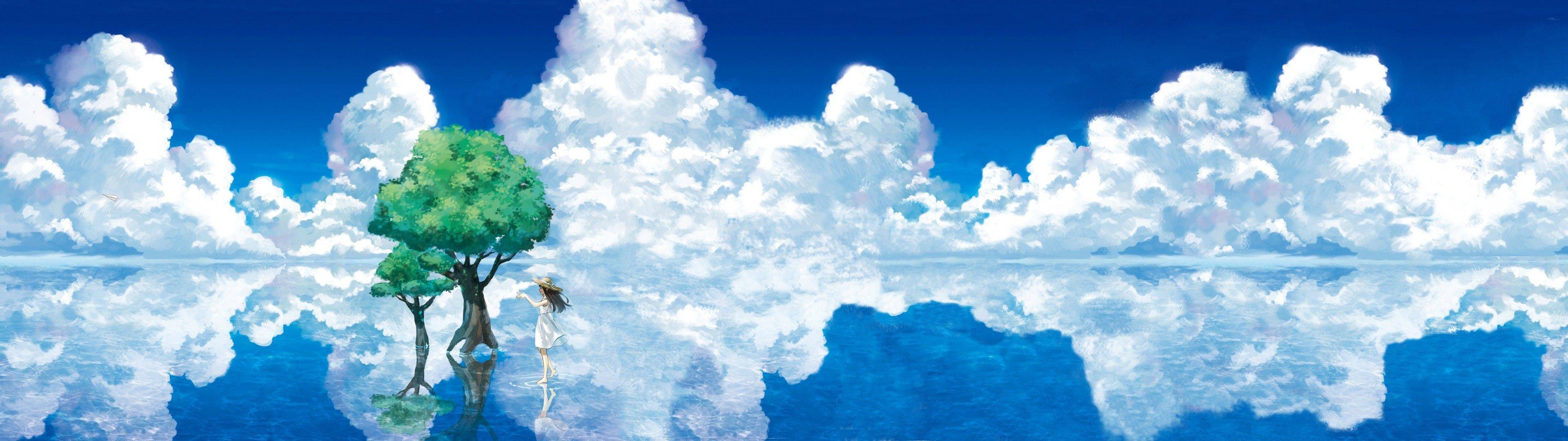 Trees Anime Reflection Anime Girls Sky Clouds Wallpaper Dual Screen Wallpaper 3840x1080 Wallpaper Scenery Wallpaper