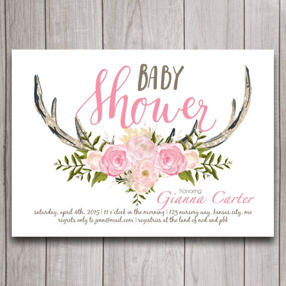 antler baby shower invitation digital download, woodland theme, oh,