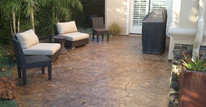 Concrete Patio Stained | Concrete Stain Patio Brown Textured Concrete Patio