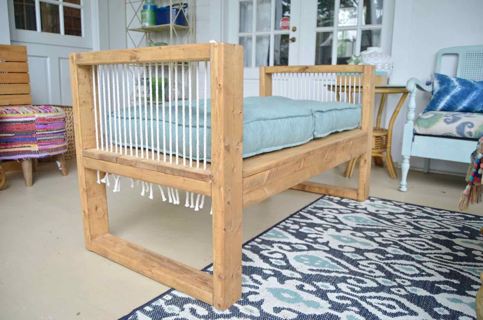 Outdoor Rope Bench- 2x4 and More with Remodelaholic | Bench, Porch ...
