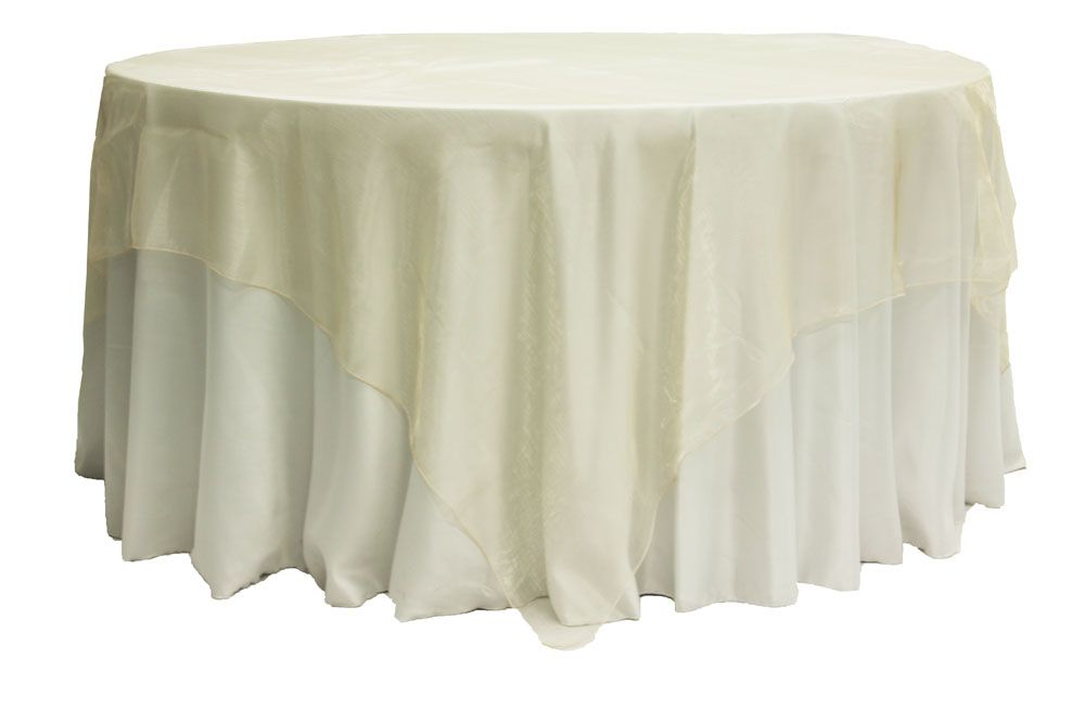 Organza 90 X90 Square Table Overlay Champagne Table Overlays