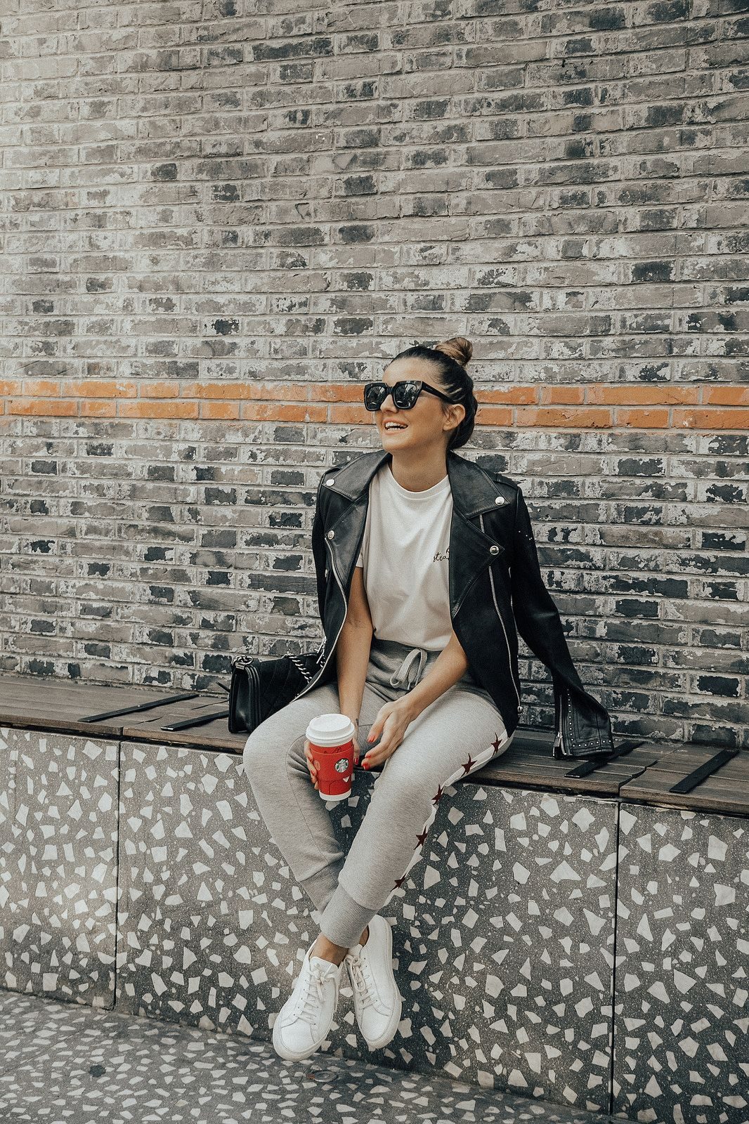 Grey joggers and leather moto jacket combo from Lovely Pepa Perfect