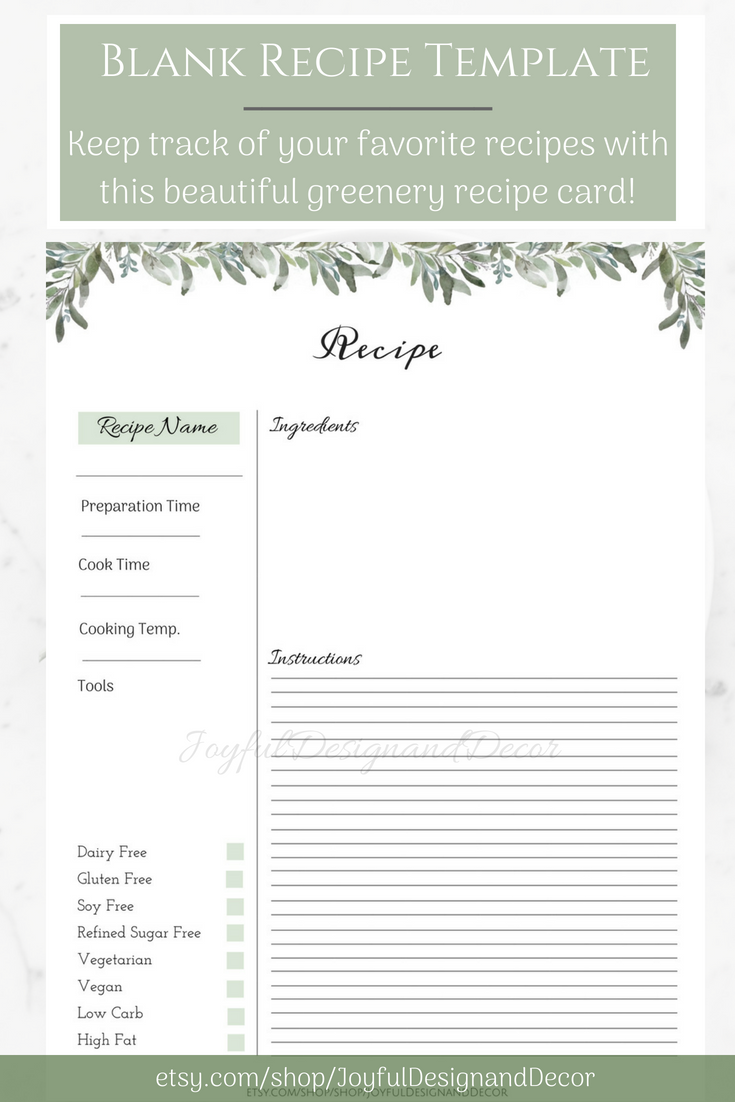 Recipe Sheet Printable Printable Cook Book Recipe Template Etsy In 2020 Recipe Cards Recipe Template Recipe Book Templates
