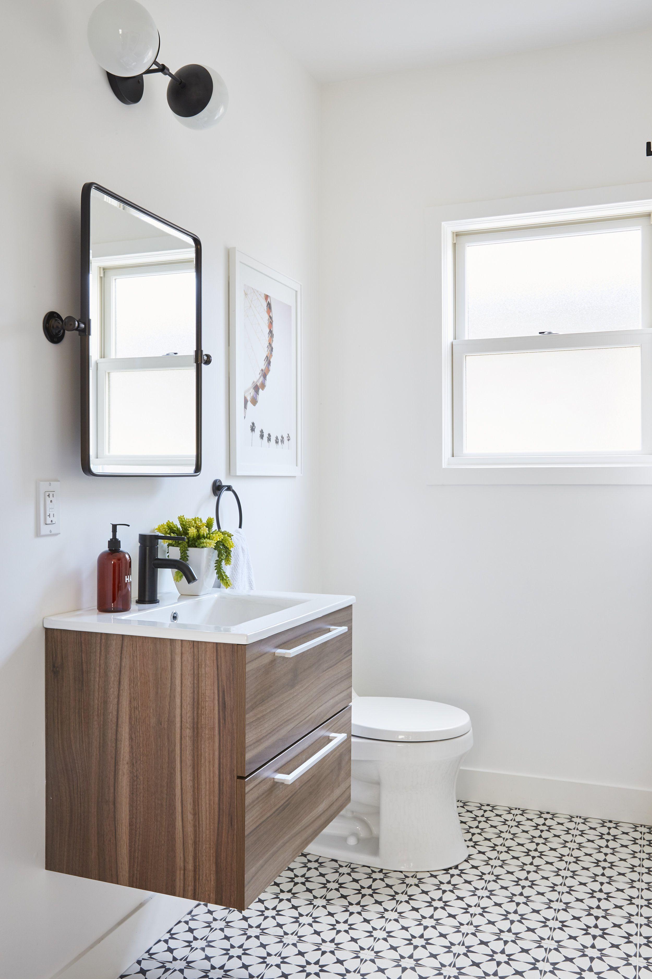 Modern Bathroom Floating Walnut Vanity Matte Black Fixtures Patterned Cement Tile Nina Jizhar Desig Bathroom Trends Bathroom Vanity Trends Bathroom Decor White walnut bathroom remodel