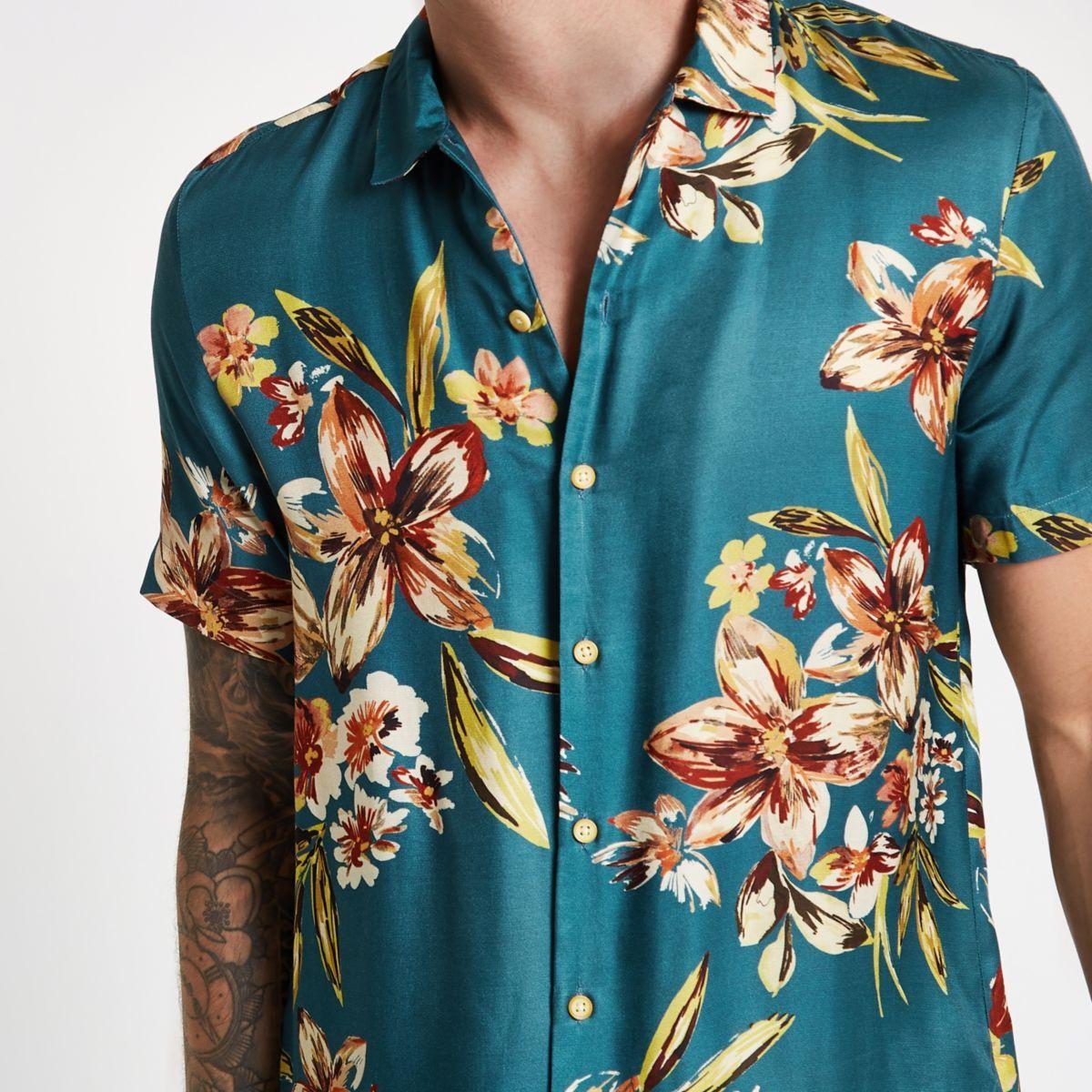 Men/'s Retro Beach Shirt Fashion Floral Print Short Sleeve Button Down Shirt New