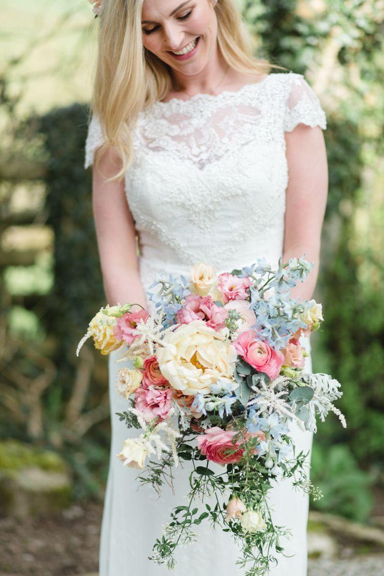 Bouquet flowers bride bridal pink yellow blue peony ranunculus rose