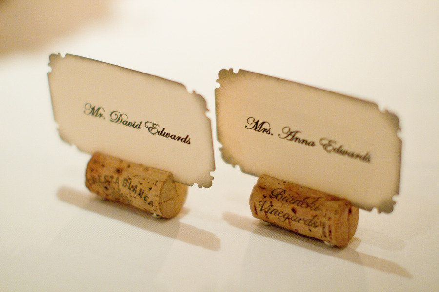 Cork place cards.