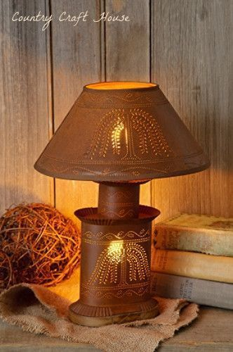 Primitive Country Rusty Willow Tree Lamp Electric Light Punched Tin Home Garden Lamps