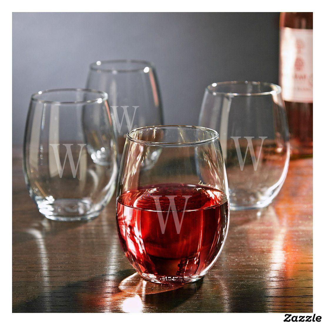 Set Of 4 Elegant Stemless White Wine Glasses Zazzle Com In 2020 White Wine Glasses Engraved Wine Glasses Hand Blown Wine Glasses