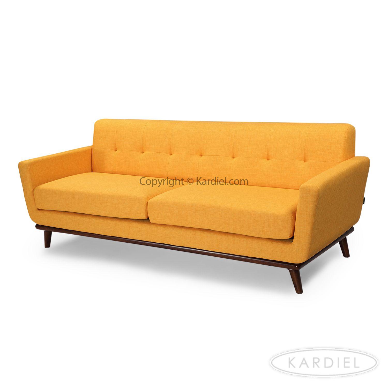 Jackie Mid Century Modern Classic Sofa Citrus Pop Tailored Twill