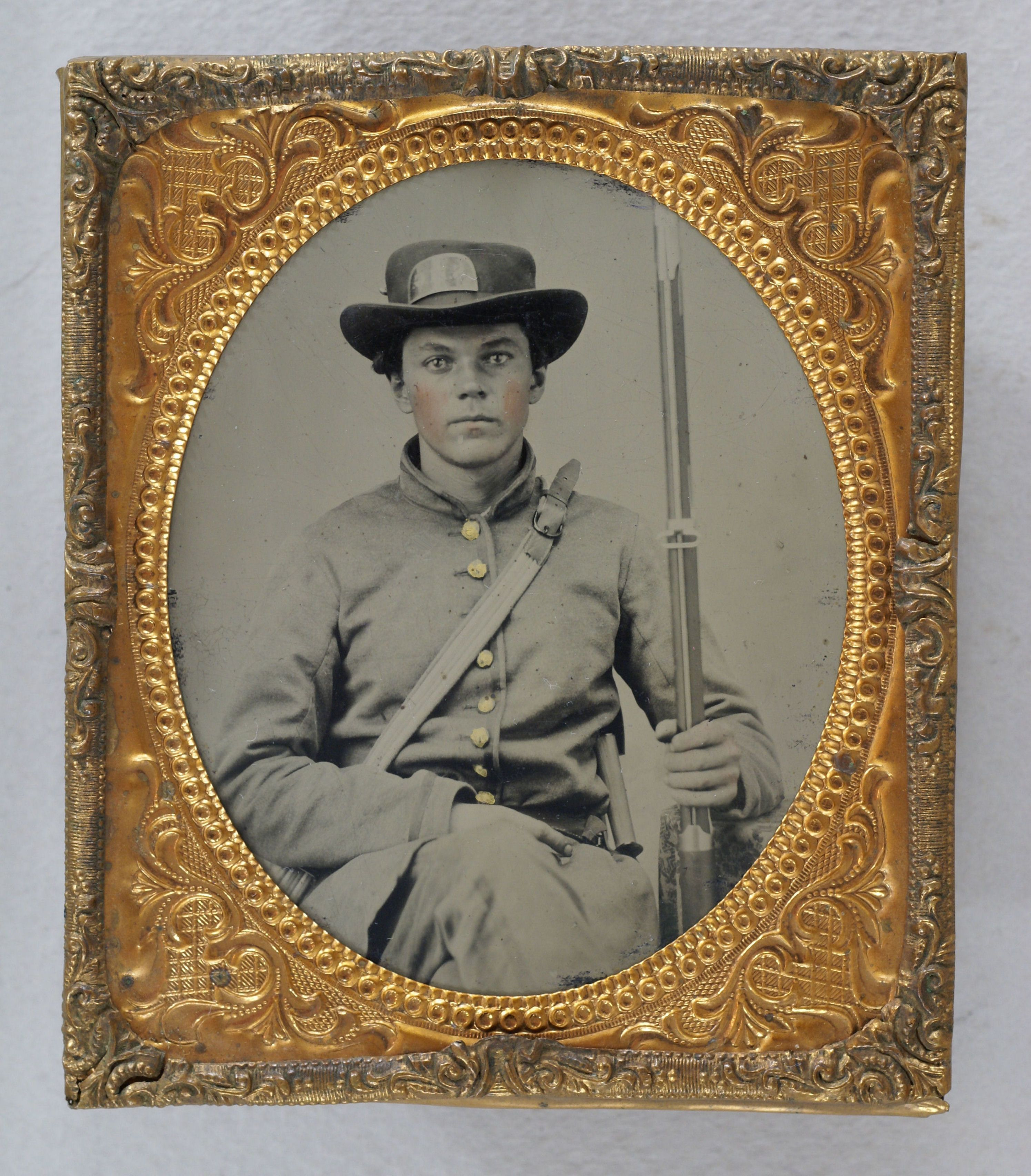 Ambrotype of Georgia soldier with SHG (Stephens Home Guards) on his ...