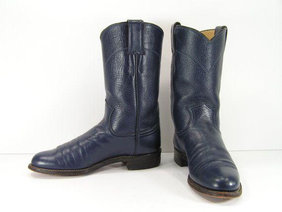 6af283c7fdb8e Vintage cowboy boots womens 5 b m navy blue ropers justin cowboy ...