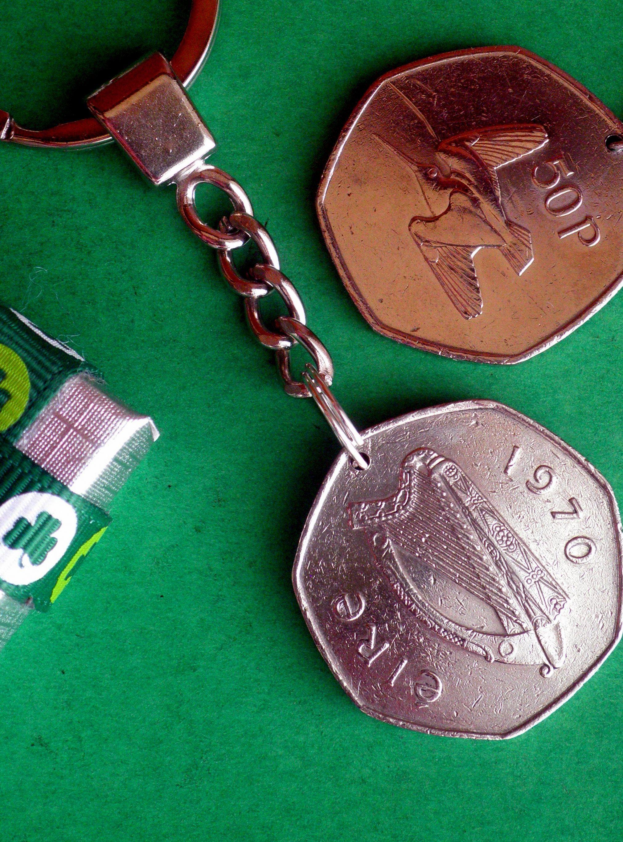 1970 Birthday coin, 50th Irish Keychain, 50th Anniversary