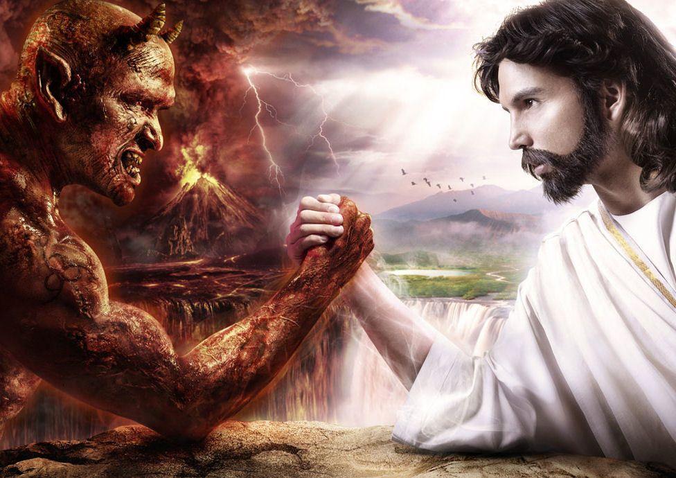 Image result for jesus and devil arm wrestling