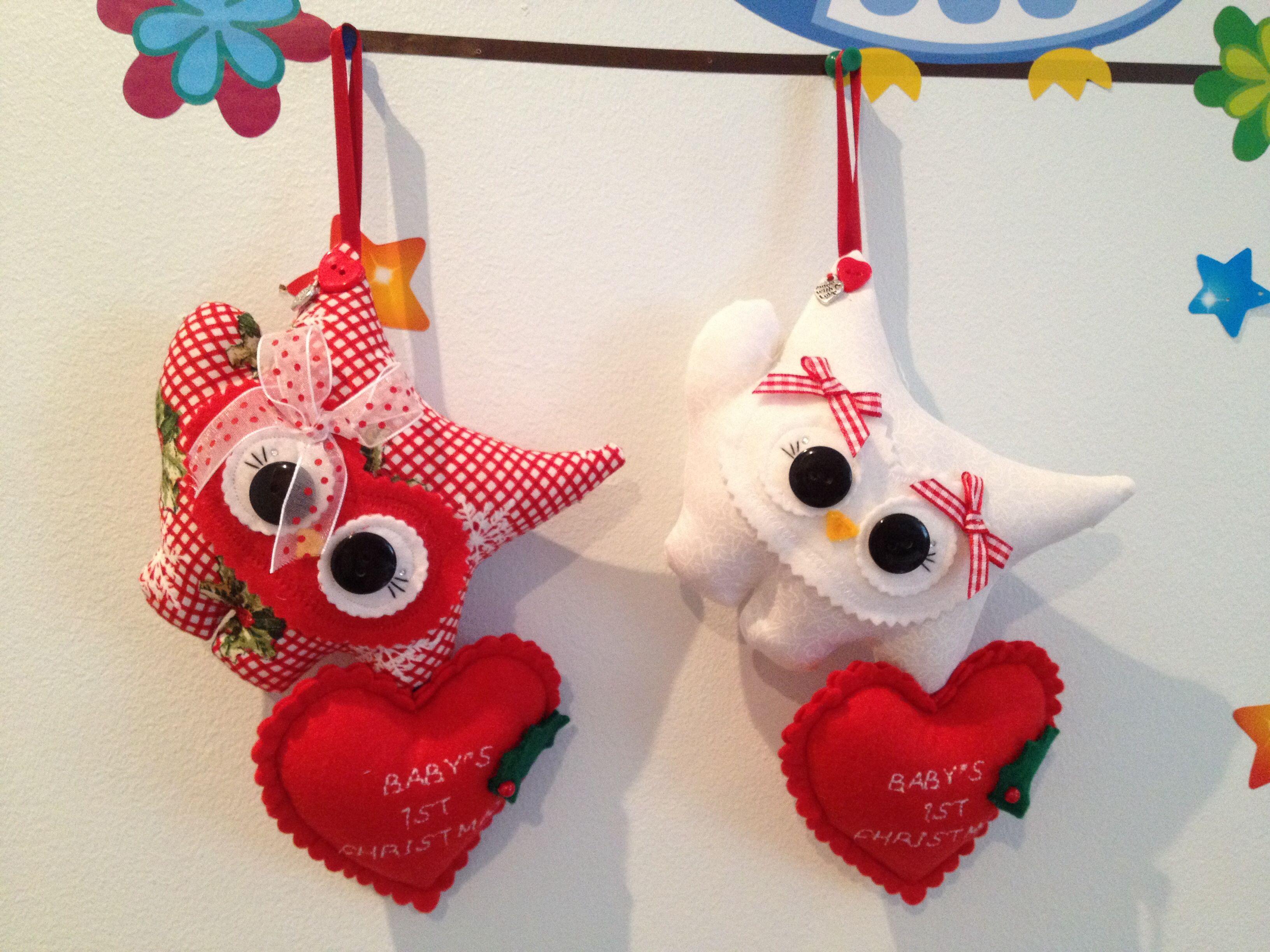 ❤️ 2 beautiful bespoke ❤️ Baby's First Christmas ❤️ Hoots of Love ❤️
