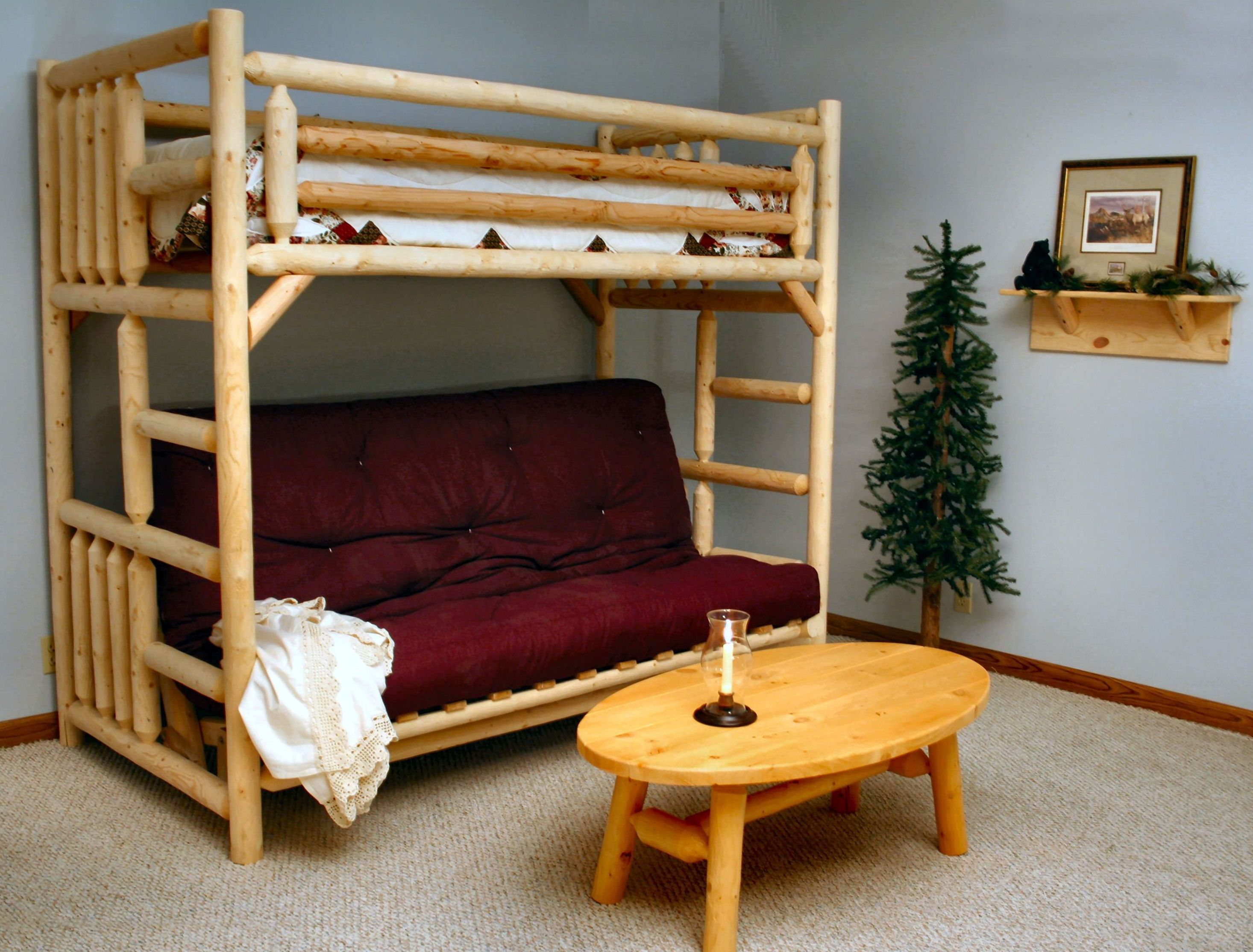Cool futons for teens - Twin Over Futon Bunk Bed Unfinished Lakeland Mills Futon