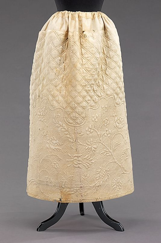Wedding Petticoat  Date: fourth quarter 18th century Culture: American Medium: silk Dimensions: Length at CB: 35 in. (88.9 cm) Credit Line: Brooklyn Museum Costume Collection at The Metropolitan Museum of Art, Gift of the Brooklyn Museum, 2009; Gift of Mrs. Harry K. Burt, 1940 Accession Number: 2009.300.658