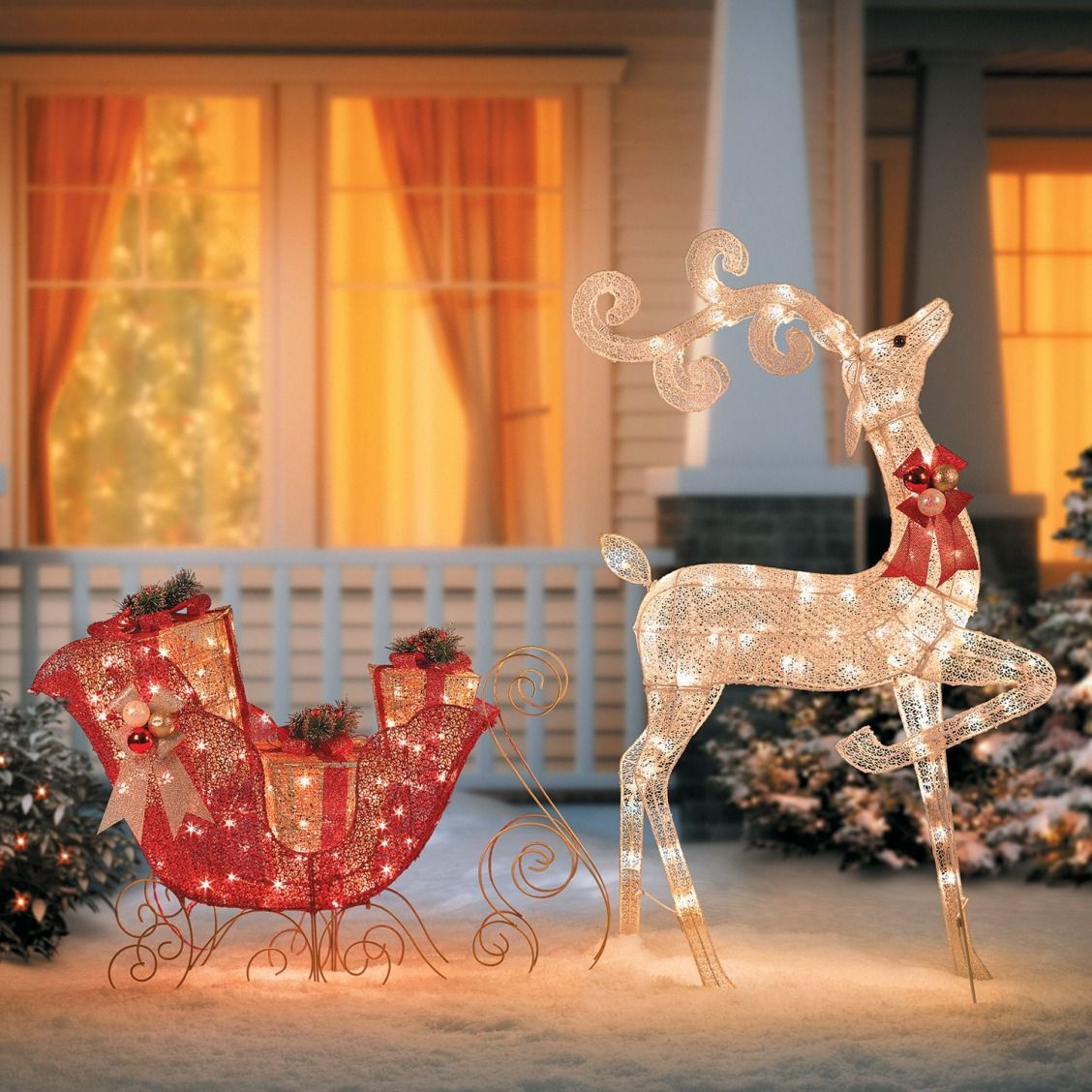Outdoor Christmas Decoration Is Happy To Stage A Grand Entrance Our Beau Outdoor Christmas Lights Christmas Deer Decorations Decorating With Christmas Lights