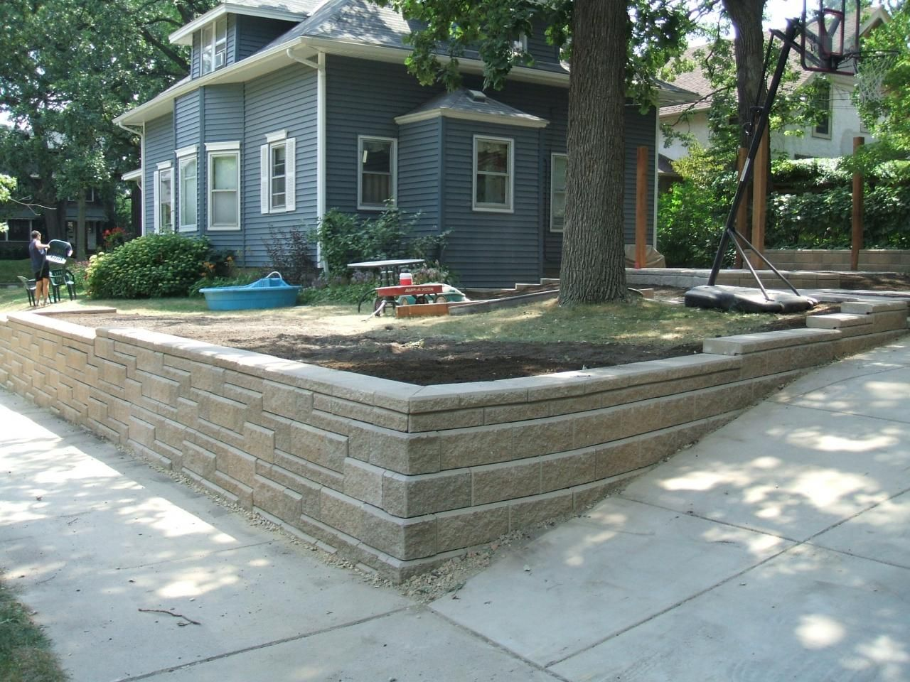 Retaining Wall Along Driveway Outdoor Spaces Small