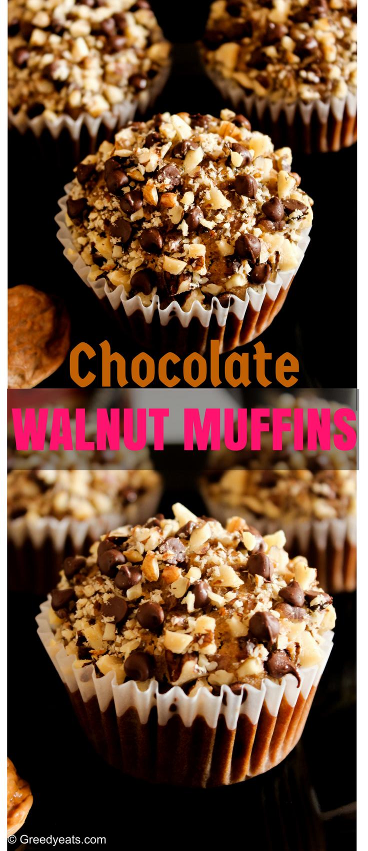 Whole wheat chocolate walnuts breakfast muffins Recipe