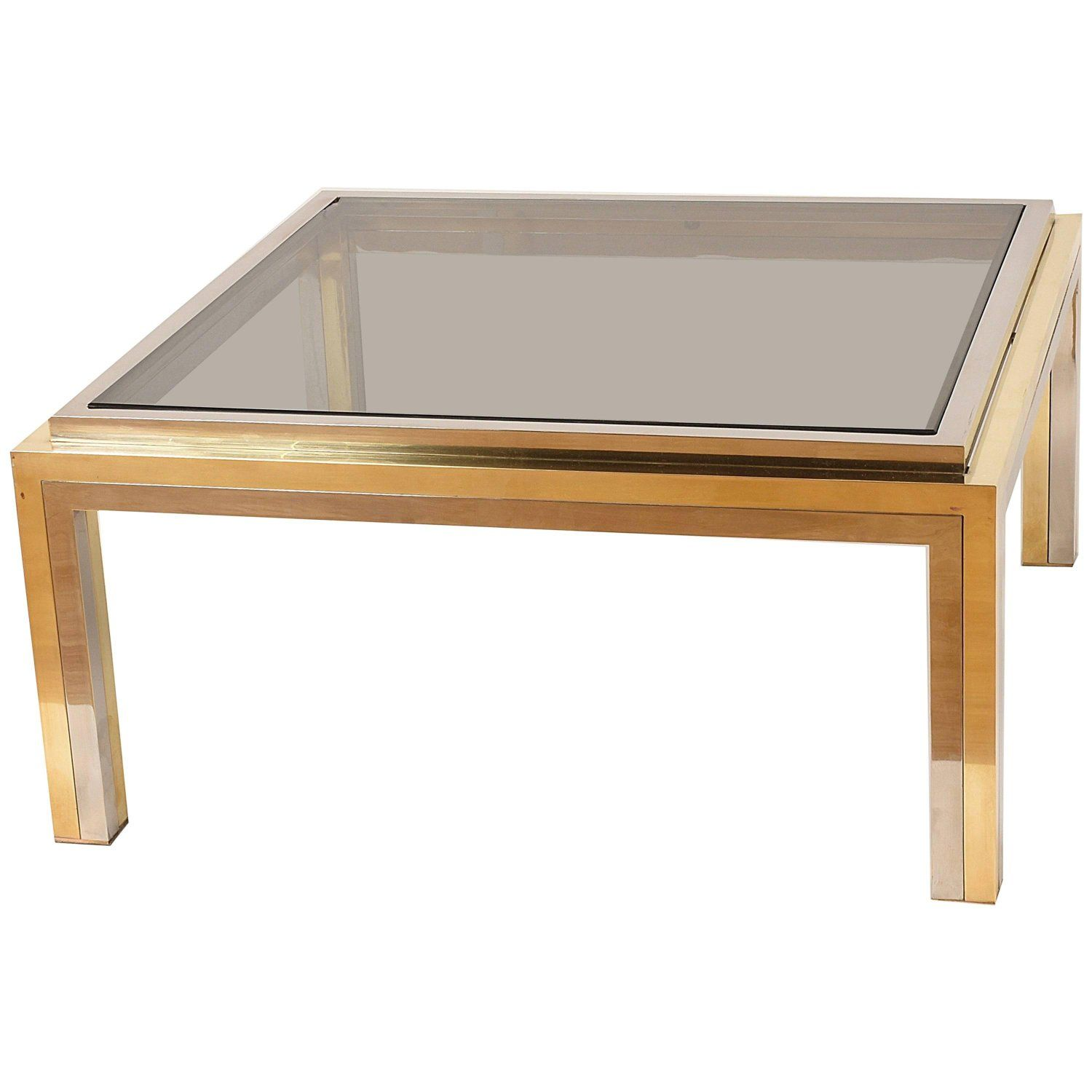 Romeo Rega Square Coffee Table In Brass And Chrome Smoked Glass Italy 1970s Coffee Table Square Coffee Table Smoked Glass