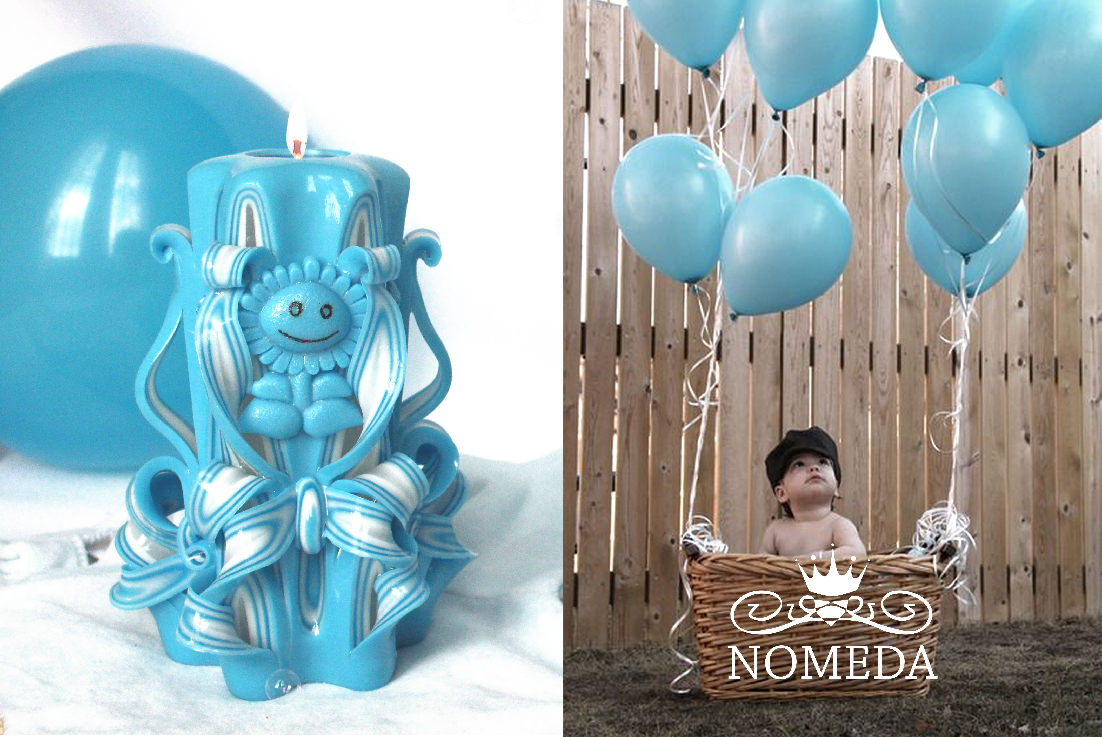 Nomeda Luxury Handmade Carved Baby Shower Candles