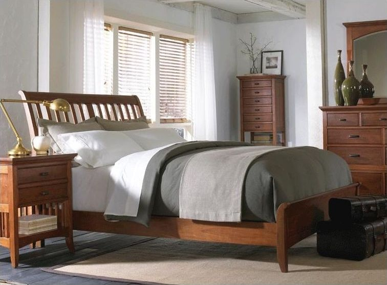 Modern Shaker Sleigh Bedroom Set In Cherry Finish Bedroom Ideas Bedroom Bedroom Sets Furniture