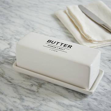 Utility Stoneware Butter Dish - White