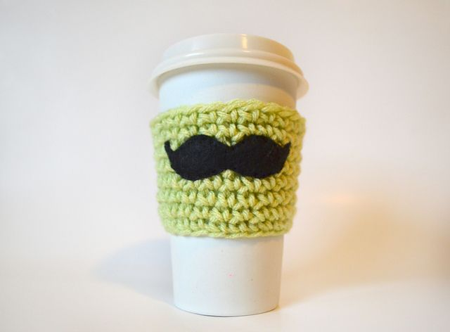 Bow Or Mustache Coffee Cup Cozy Pattern By Sarah C Lewis Coffee