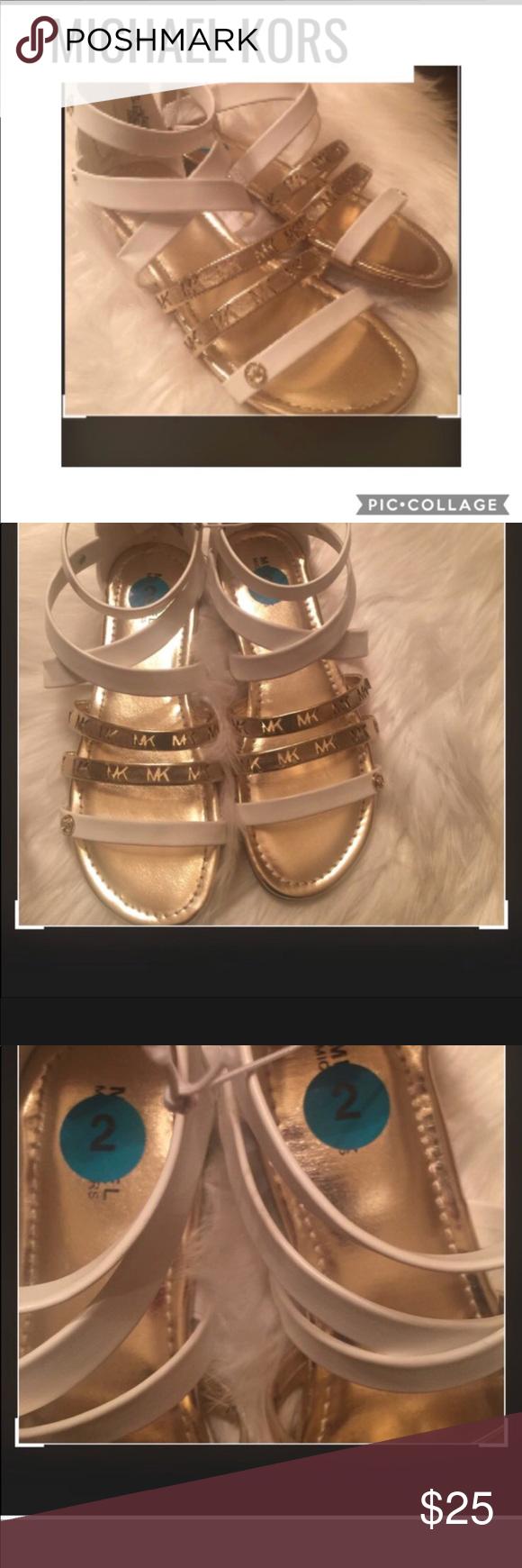 3645bd9af3 MICHAEL KORS GIRLS SANDALS WHITE/GOLD SIZE 2 MICHAEL KORS GLADIATOR SANDALS  WHITE/GOLD