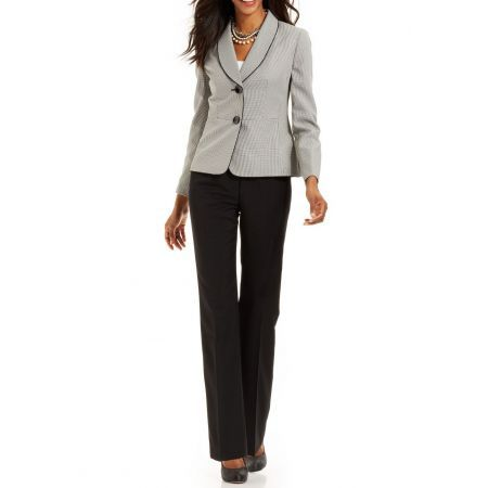 Le Suit Women/'s Houndstooth Colorblocked Jacket