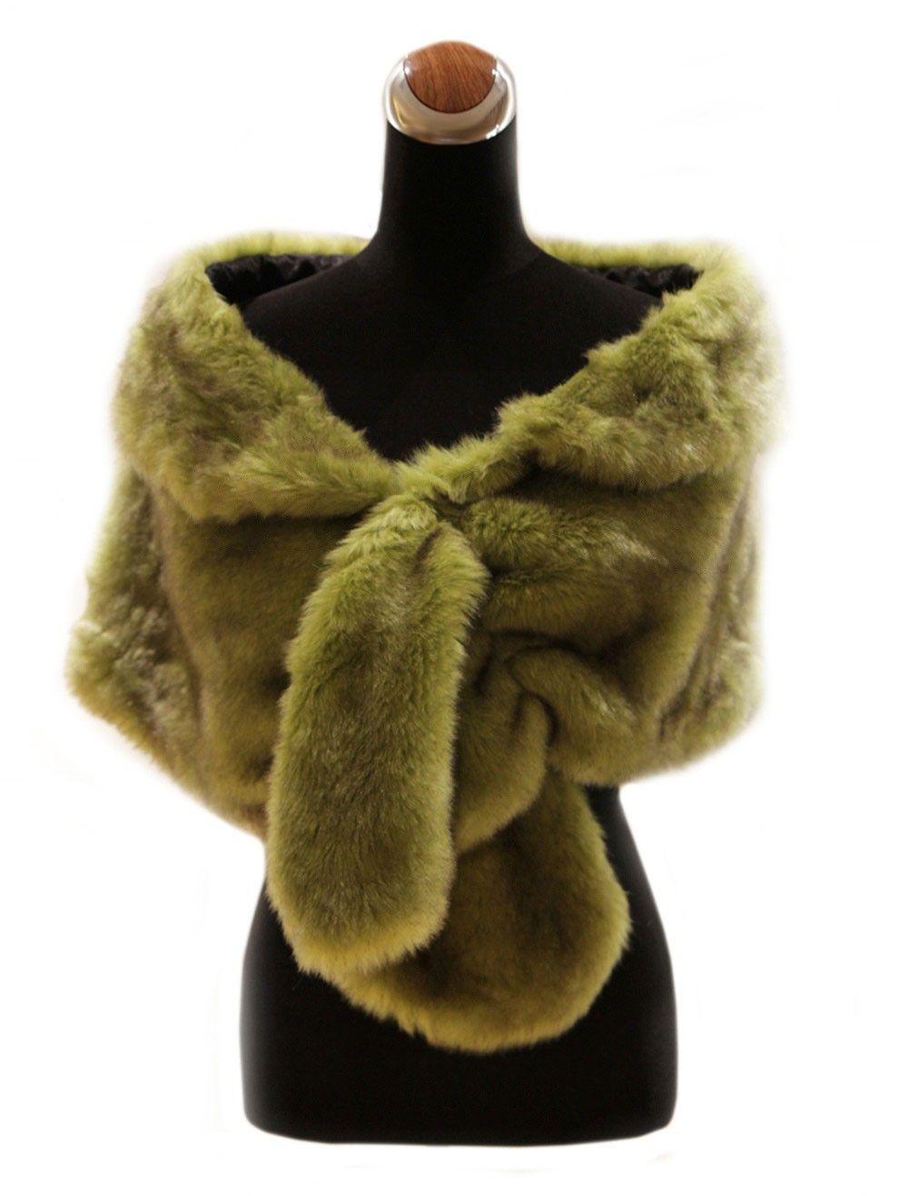 Elegant Green Fur Bridal Wedding Shawl - Wedding Shawls - Accessories
