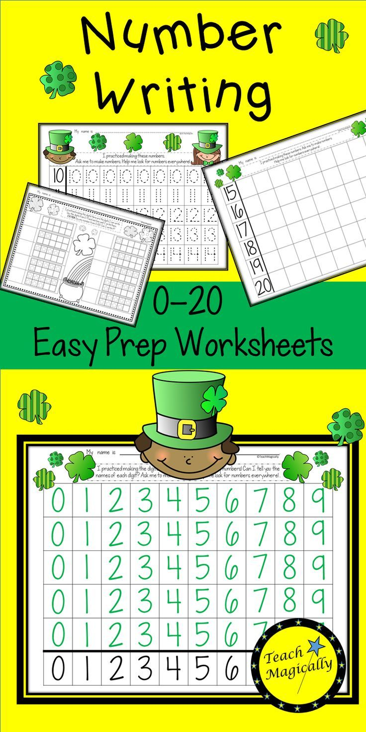 Number Writing Practice 1-20 St. Patricks Day March Math Centers ...