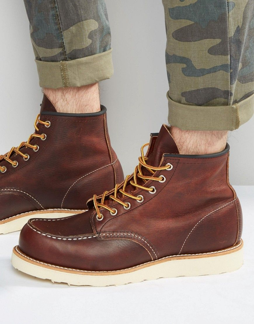 Newest Boots Red Wing Shoes 6 Moc Toe Leather Brown Mens Boots US Online