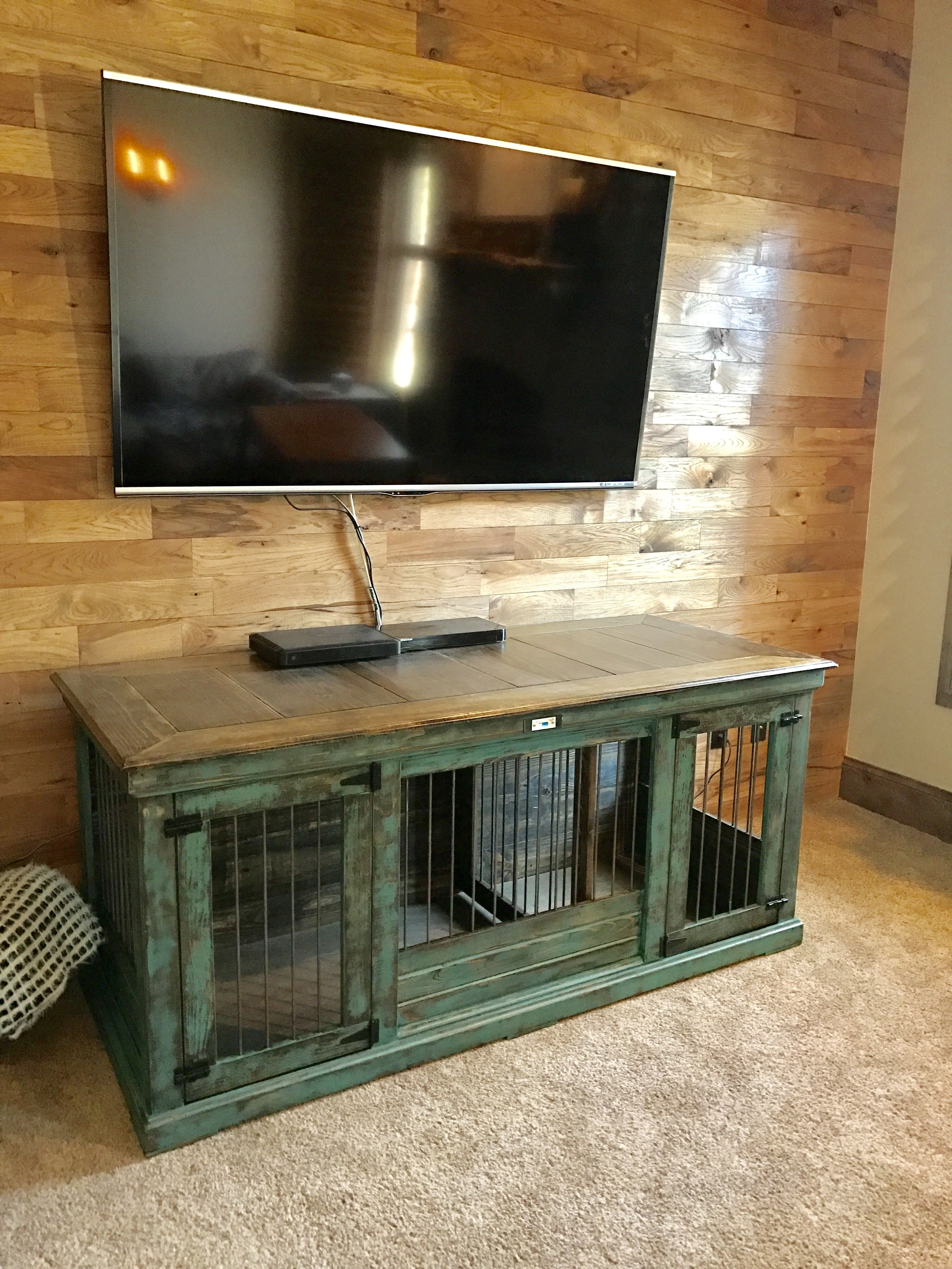 Turquoise Distressed Double Indoor Dog Kennel Our Double
