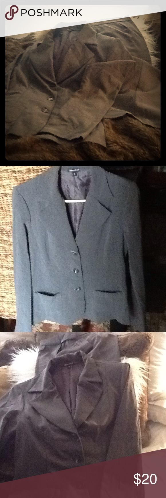 Grey Pant Suit Size 9 Machine Wash Cold Water, Tumble Dry Low,Polyester,Rayon,Spandex,Color Grey,Gently Used Jackets & Coats Blazers