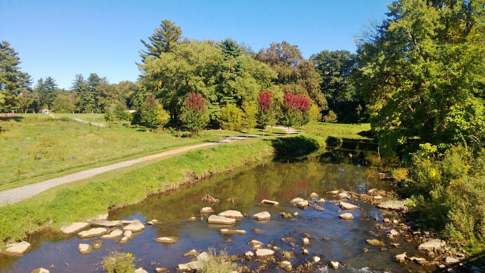 Wolf Creek flowing through the GCC campus on a beautiful
