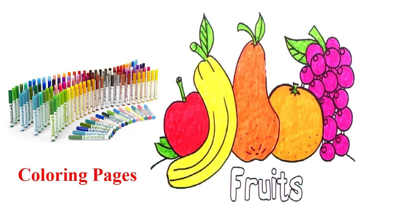 Learn to colors paint fruits how do kids draw and color the fruits