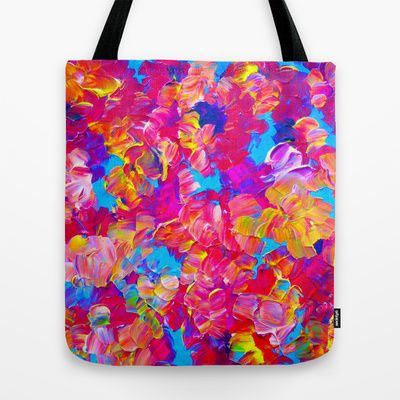 FLORAL FANTASY Bold Abstract Flowers Acrylic Textural Painting Neon Pink Turquoise Feminine Art Tote Bag by EbiEmporium - $22.00