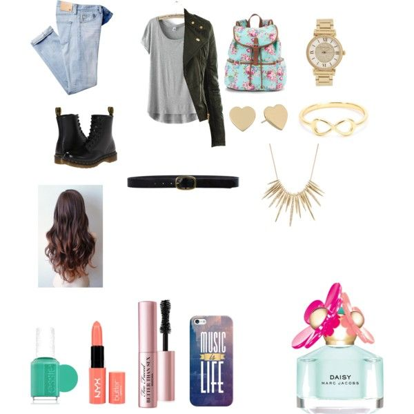 school by evalynntween on Polyvore featuring polyvore fashion style AG Adriano Goldschmied Dr. Martens Candie's Michael Kors Alexis Bittar Kate Spade Linea Pelle Casetify Too Faced Cosmetics NYX Marc Jacobs Essie