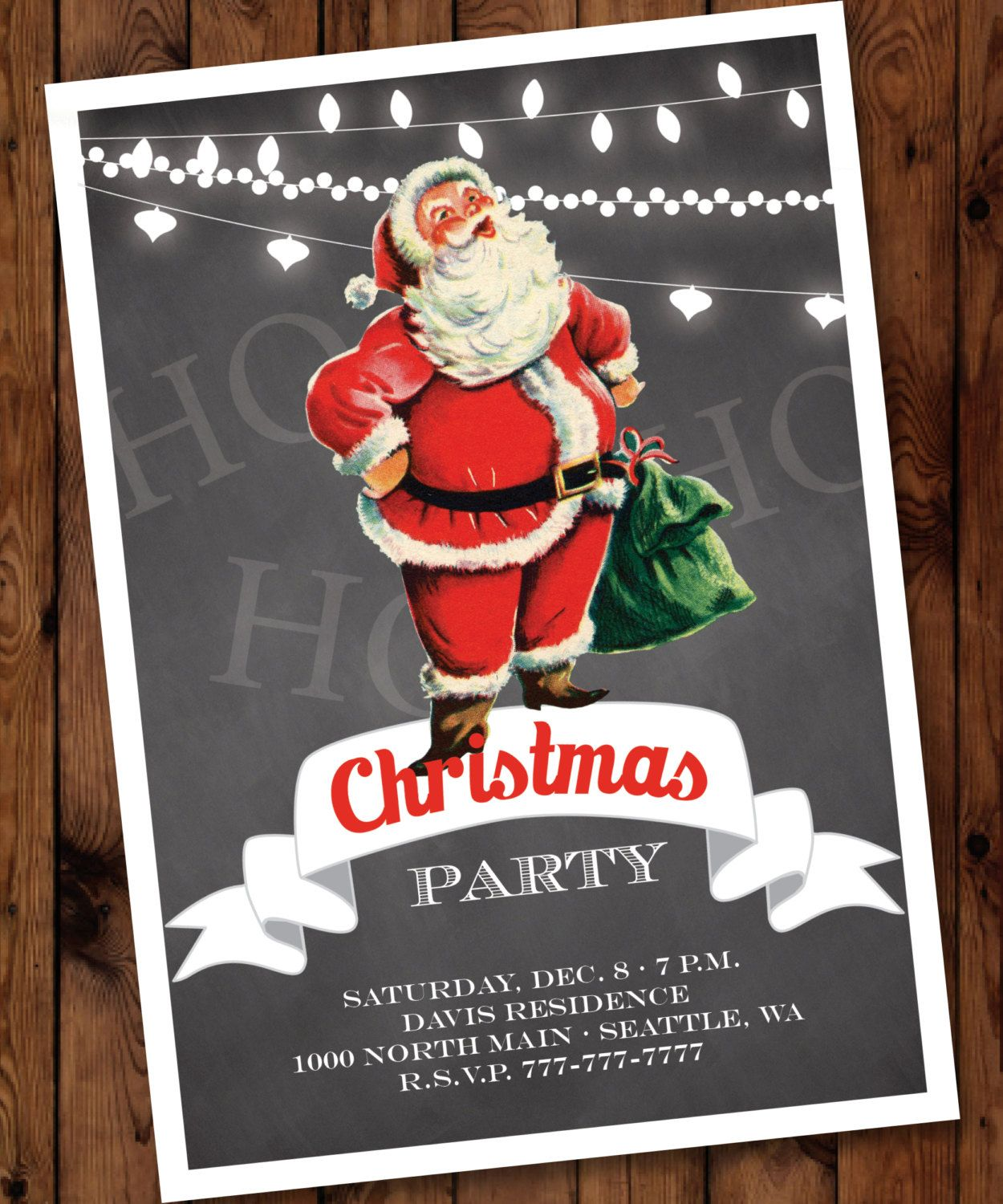 Retro Santa Christmas Party Invitation, Retro Christmas Invitation ...